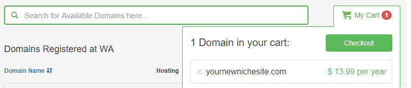 domain registration at Wealthy Affiliate