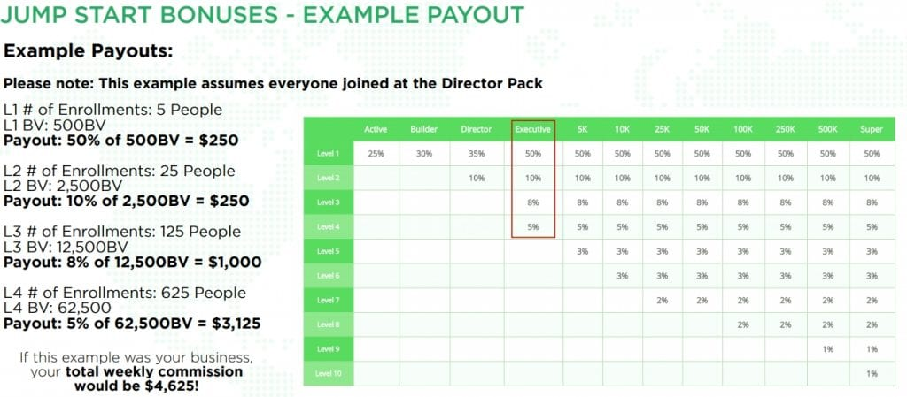 HempWorx MLM Review - Example Payout