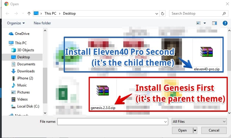 install parent and child theme