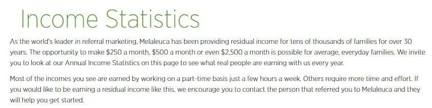 Melaleuca MLM Review-Income Stats