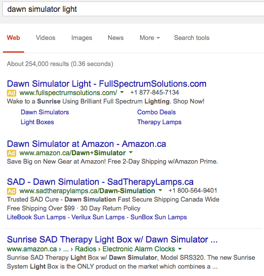 dawn simulator light search