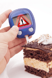 Blood Sugar Test With Warning Sign
