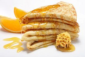 Hearty Pancakes with Honey
