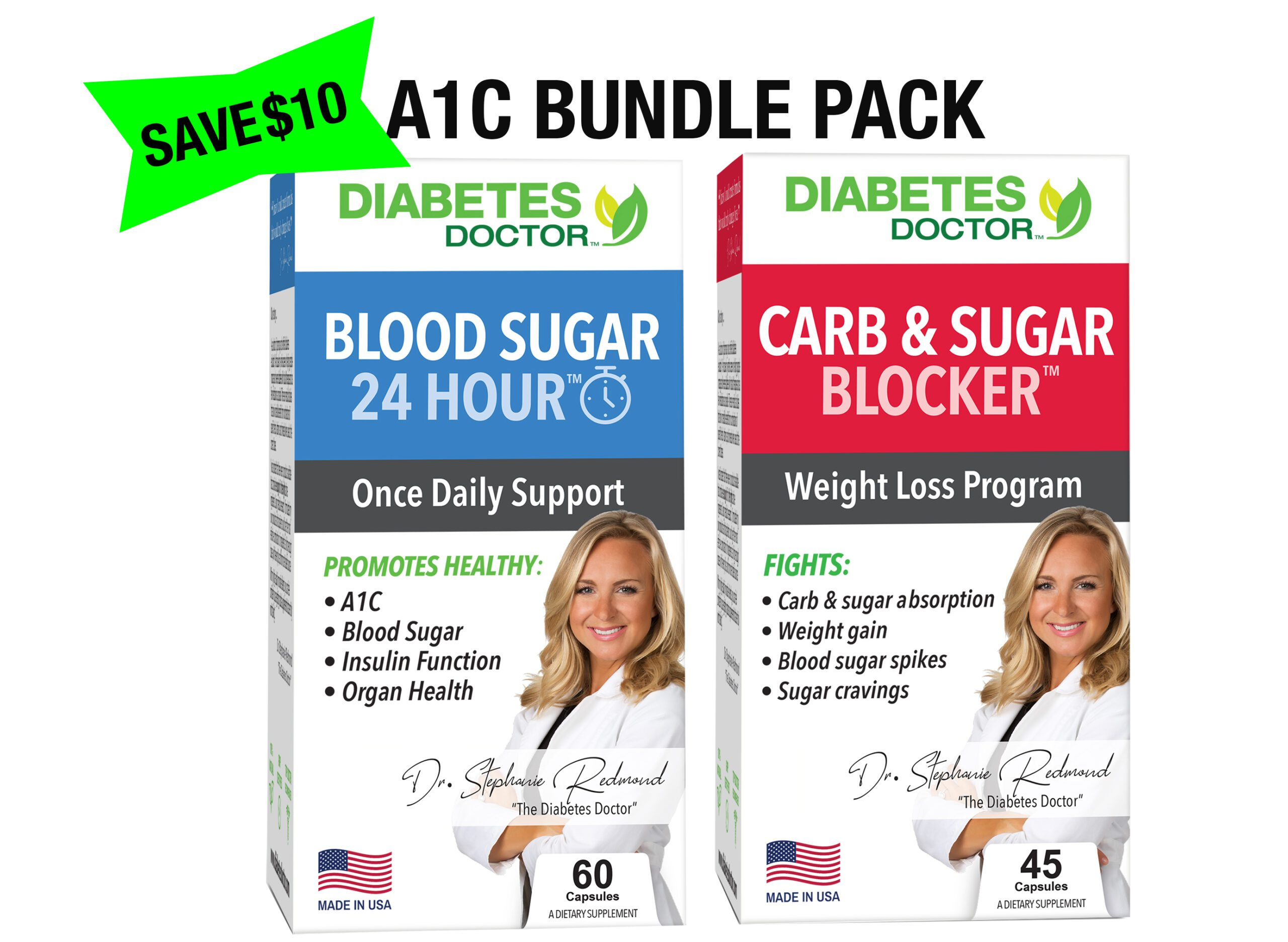 Diabetes Doctor - TYPE 2 DIABETES A1C DOUBLE PACK- 24 Hour Daily Support? + Mealtime Sugar Defense?