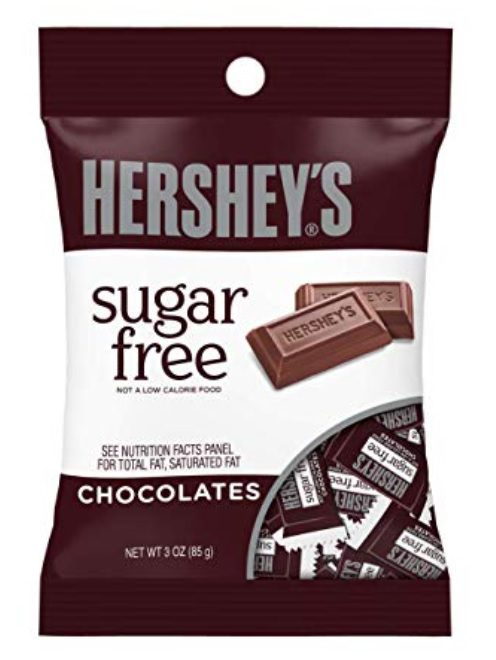 HERSHEY'S Sugar Free Chocolate Bars, 3 Ounces (Pack of 12)