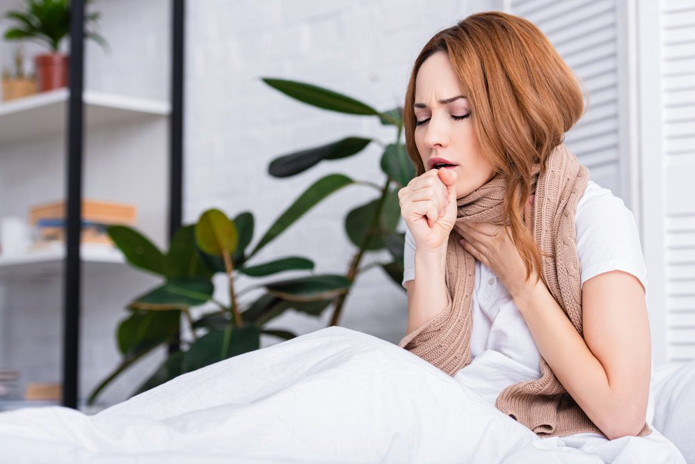 Woman with dry cough