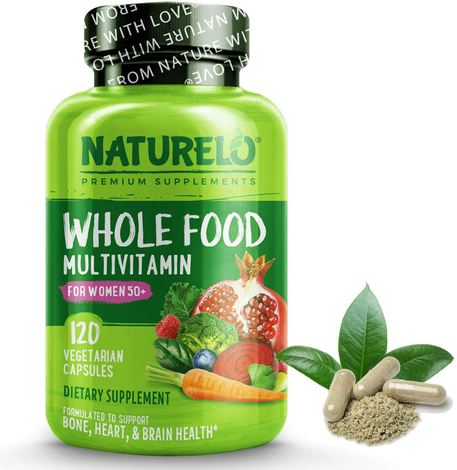 NATURELO Whole Food Multivitamins for Women 50+ (Iron Free)
