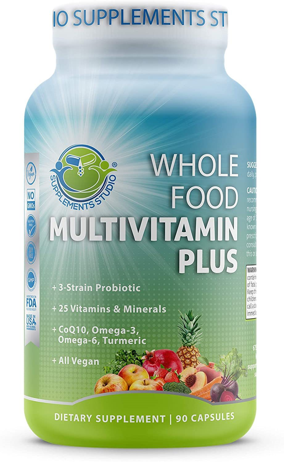 Whole Food Multivitamin Plus - Vegan - Daily Multivitamin for Men and Women