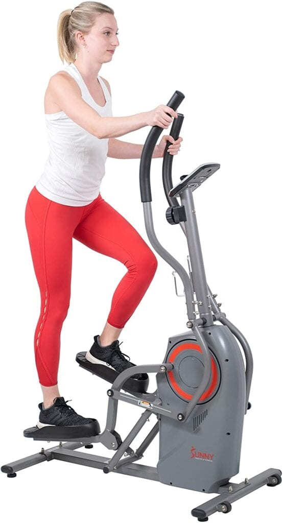 Sunny Health & Fitness Elliptical Cardio Climber Cross Trainer Machine with Stepping Motion