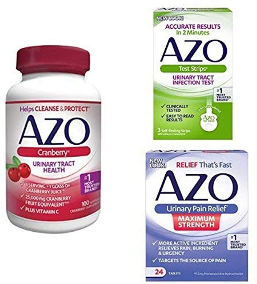 AZO UTI Pain Relief Bundle - 3 Products to Test, Relieve Pain, Protect