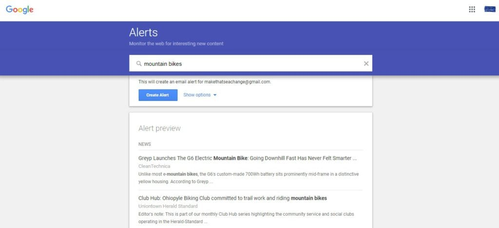 How to Find Content for a Blog Post - google alert