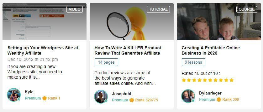 wealthy affiliate review - member training