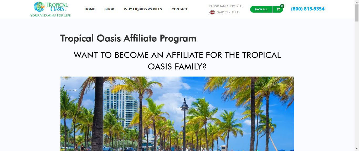 Best Supplement Affiliate Programs -tropical oasis affiliate