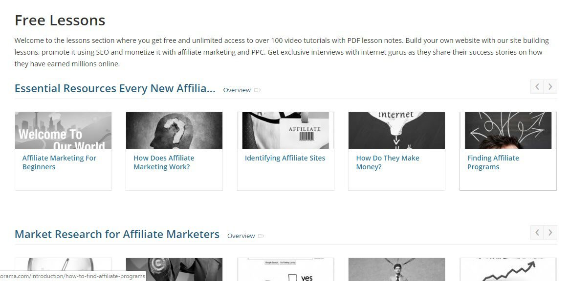 Is Affilorama Affiliate Marketing - lessons