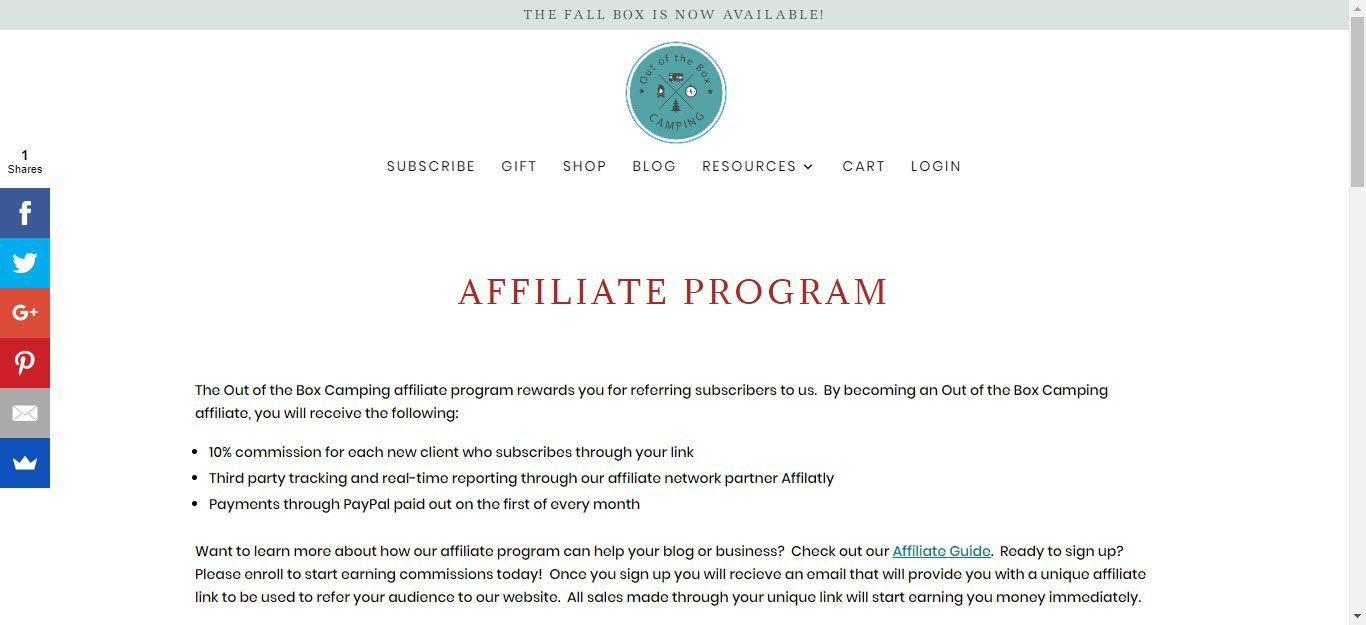 Camping Affiliate Programs - out of the box affiliate