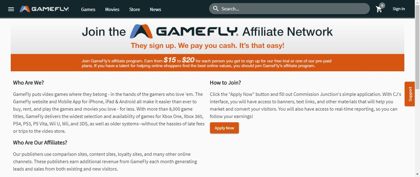 Video Game Affiliate Programs - gamefly affiliate