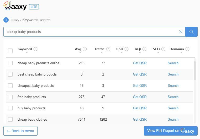 selling baby products online - products keywords 2