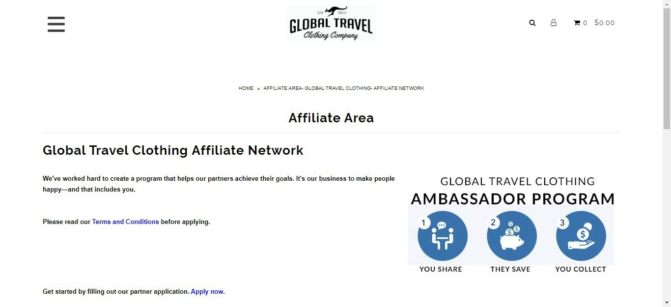 Travel Accessories Affiliate Programs - Global Travel Clothing Company affiliate