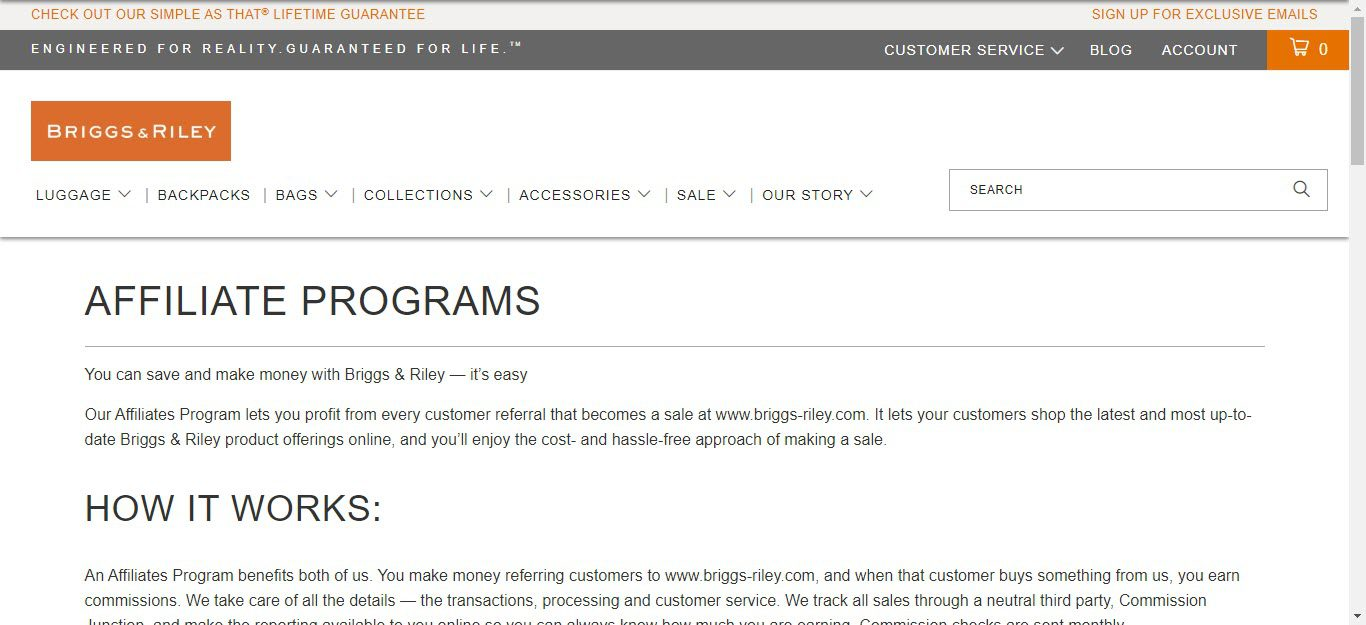 Travel Accessories Affiliate Programs - briggs and riley affiliate