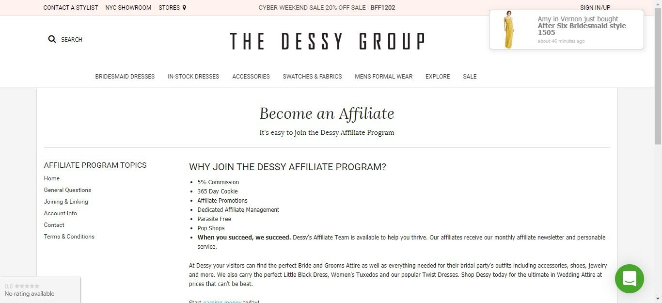 Wedding Affiliate Program - Dessy affiliate