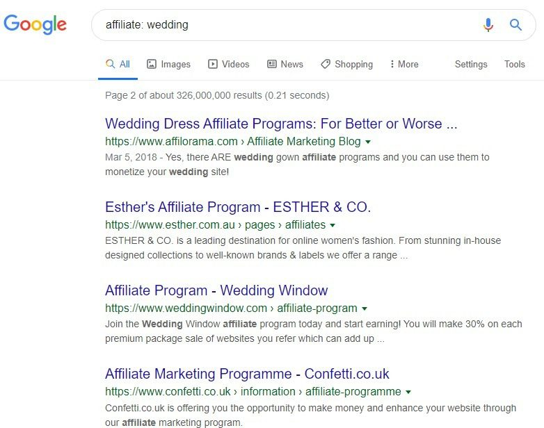 Wedding Affiliate Program - affiliates