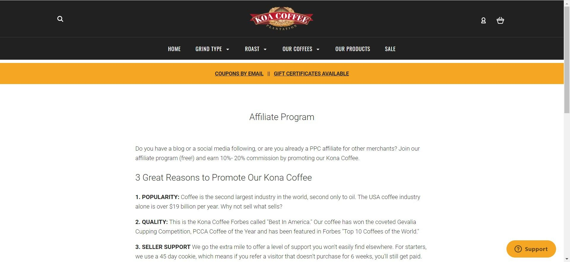 coffee affiliate programs - Koa affiliate