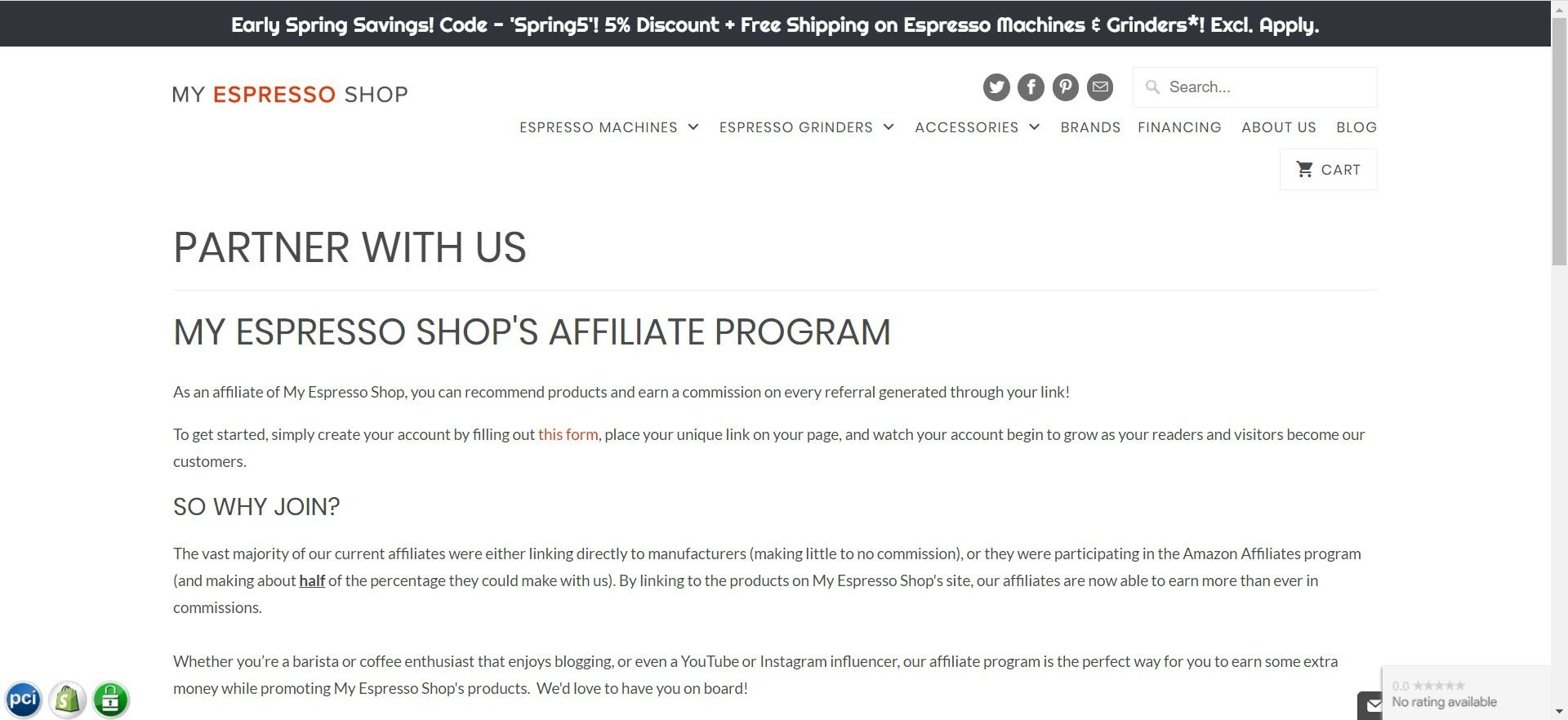 coffee affiliate programs - my espresso shop affiliate