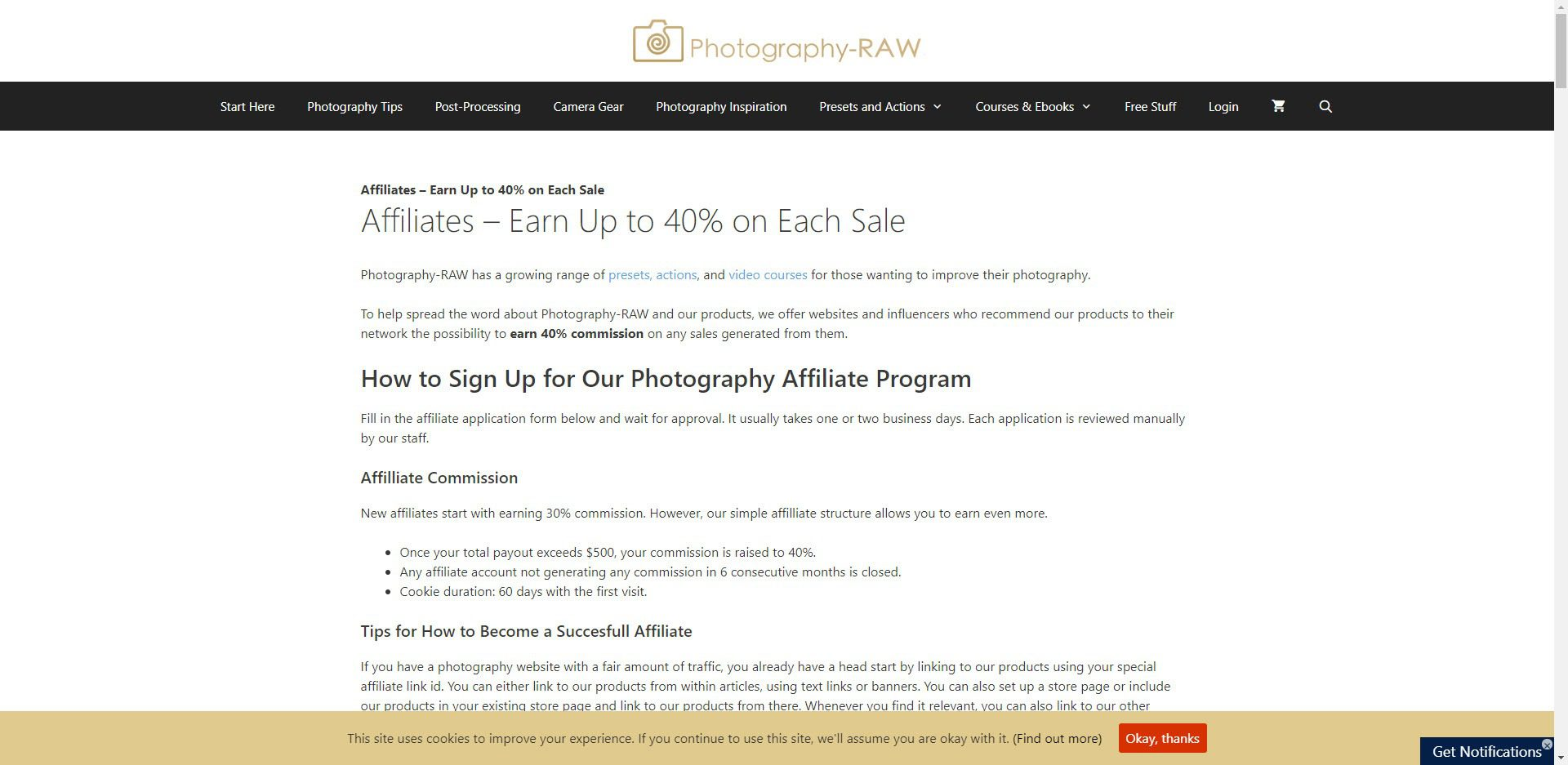 Photography Affiliate Programs - photography RAW affiliate