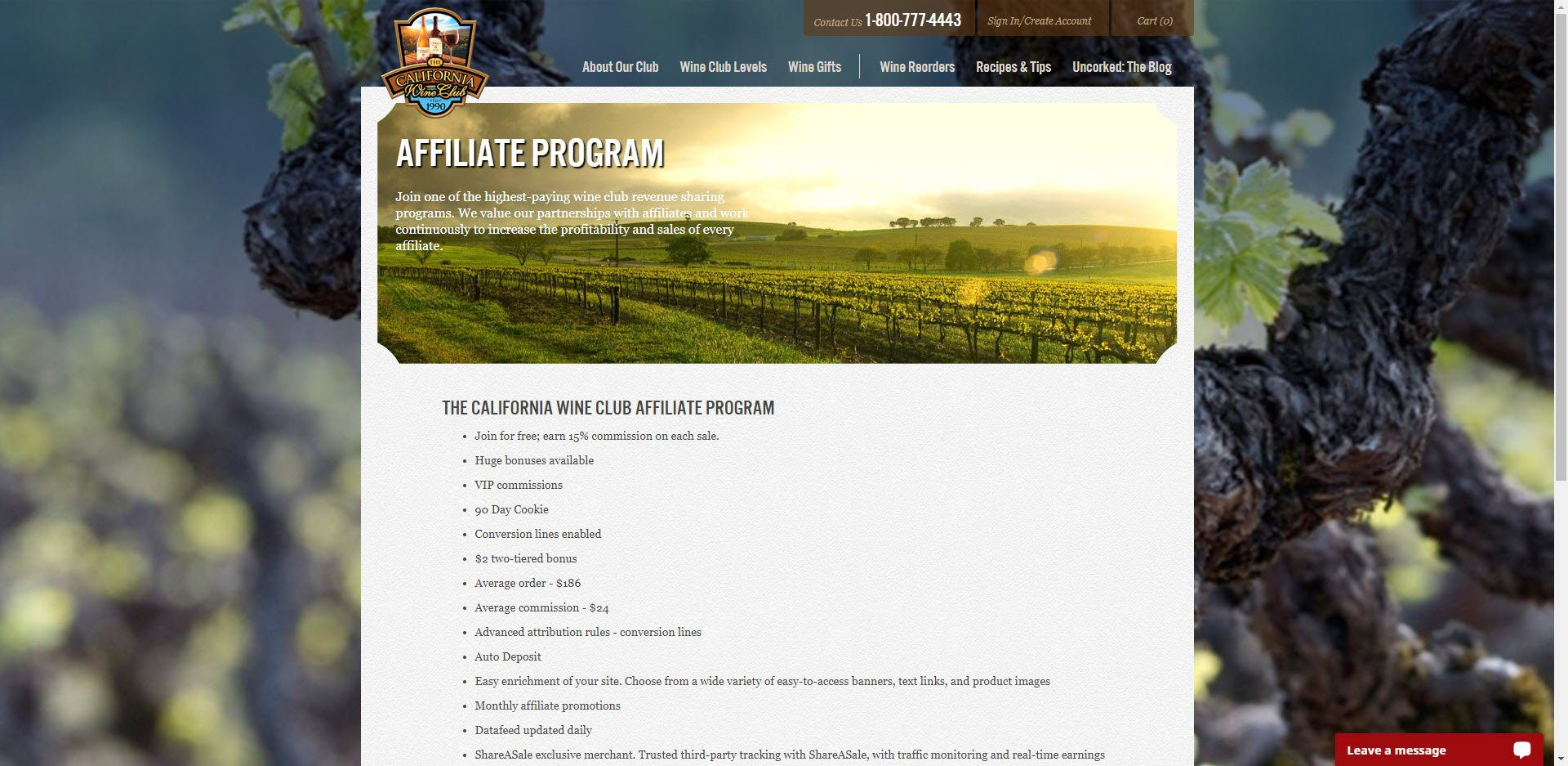Wine Affiliate Programs - California Wine Club affiliate
