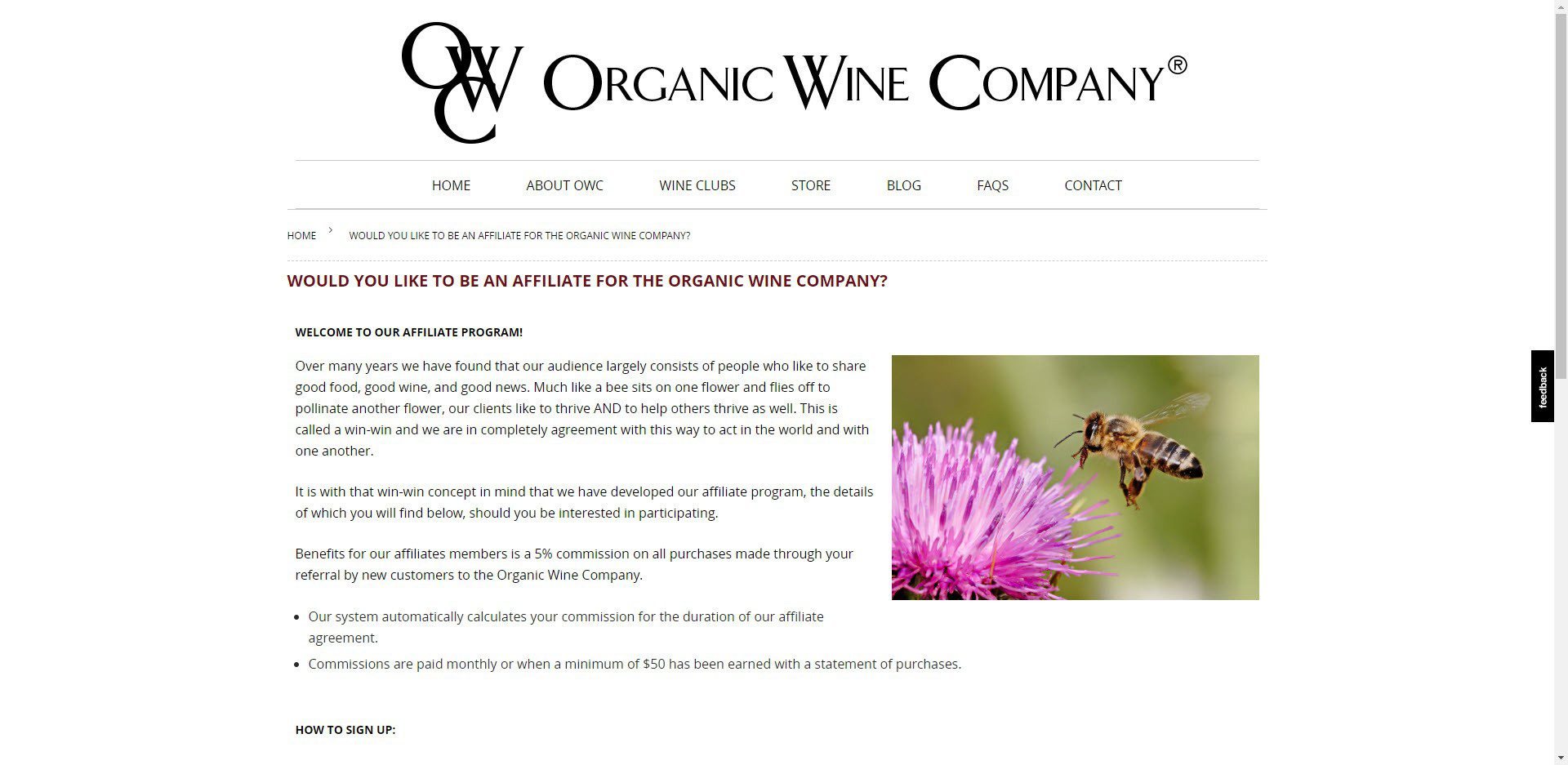 Wine Affiliate Programs - Organic Wine Company affiliate