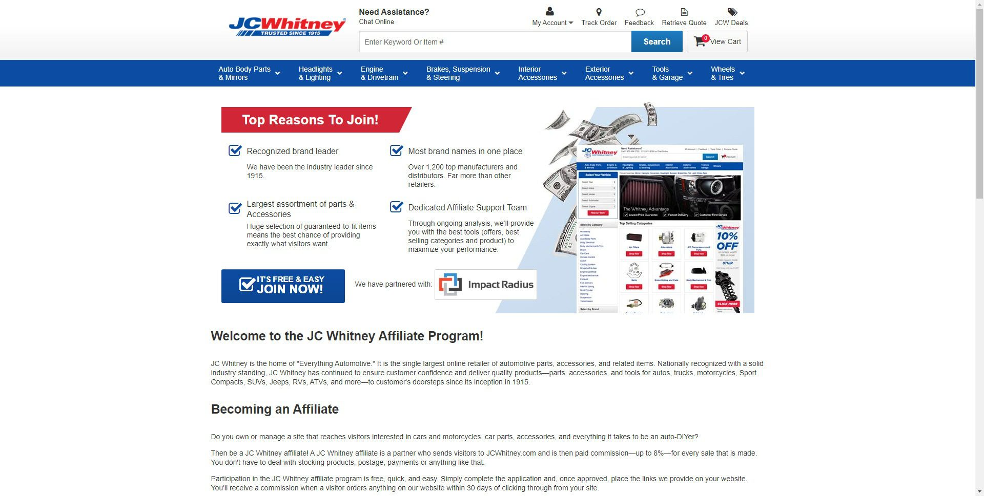 Car Parts Affiliate Programs - JC Whitney affiliate