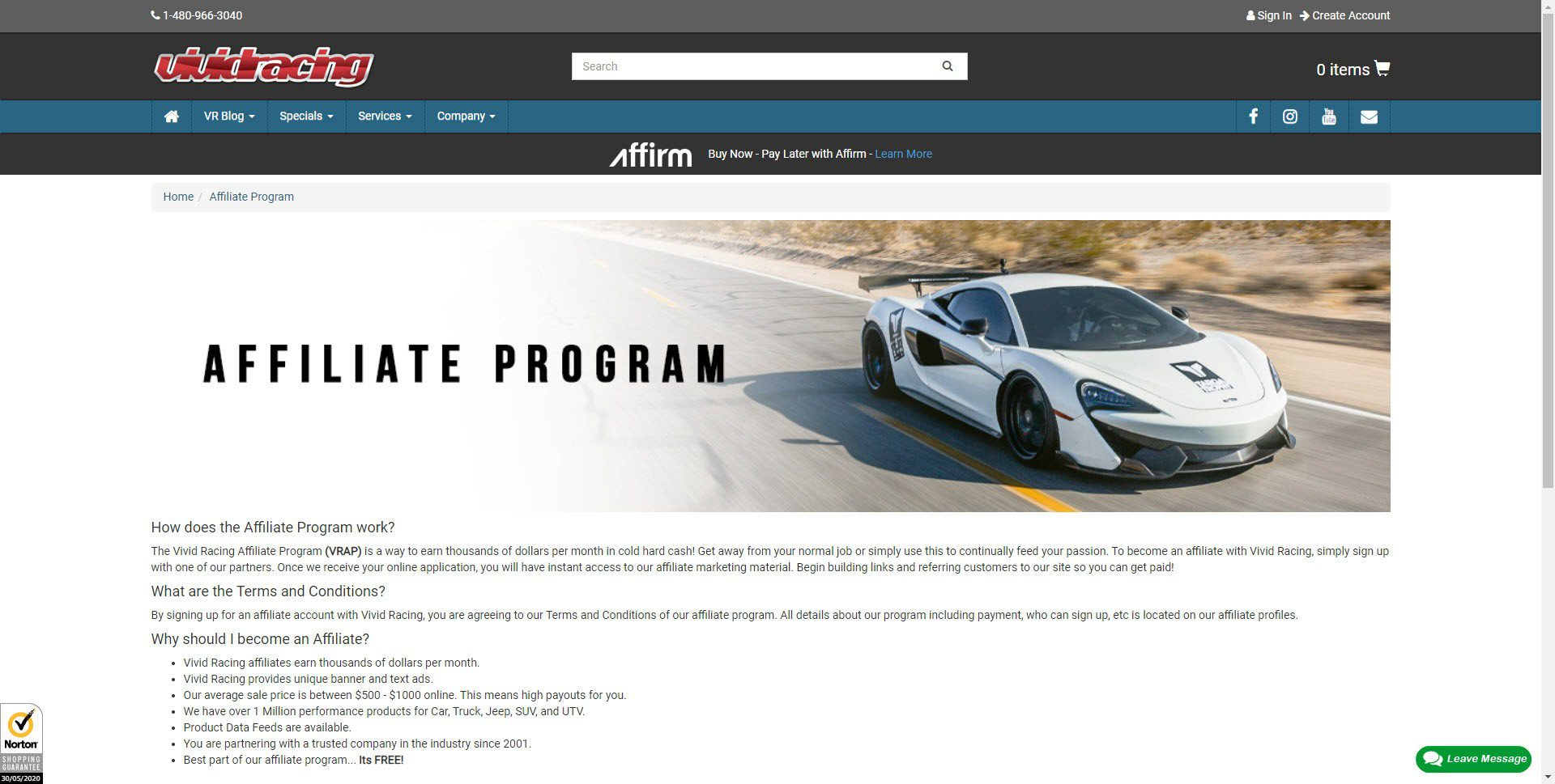 Car Parts Affiliate Programs - Vivid Racing affiliate
