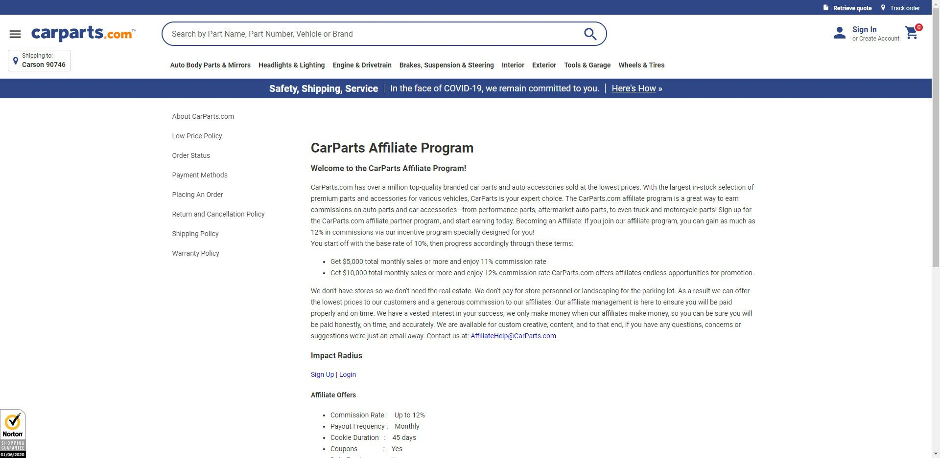 Car Parts Affiliate Programs - carparts.com affiliate