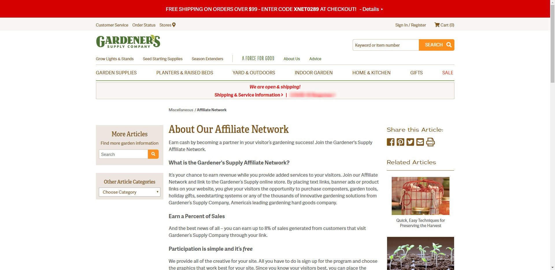 Gardening Affiliate Programs - Gardeners supply co affiliate