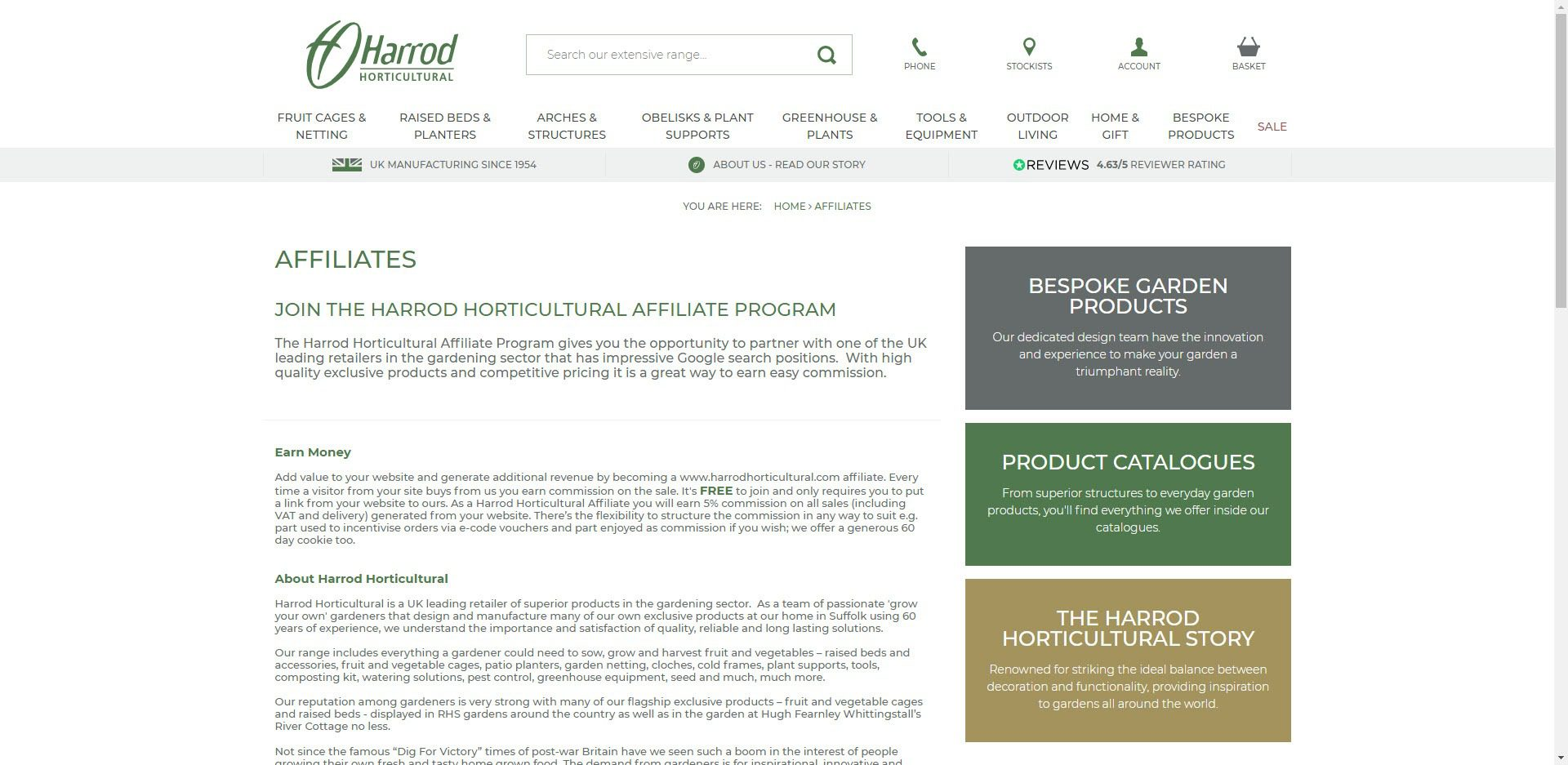 Gardening Affiliate Programs - Harrod Horticultural Affiliate