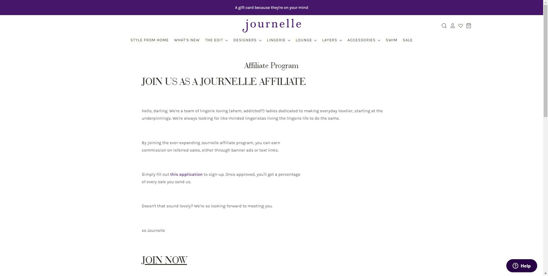 Lingerie Affiliate Programs - Journelle affiliate