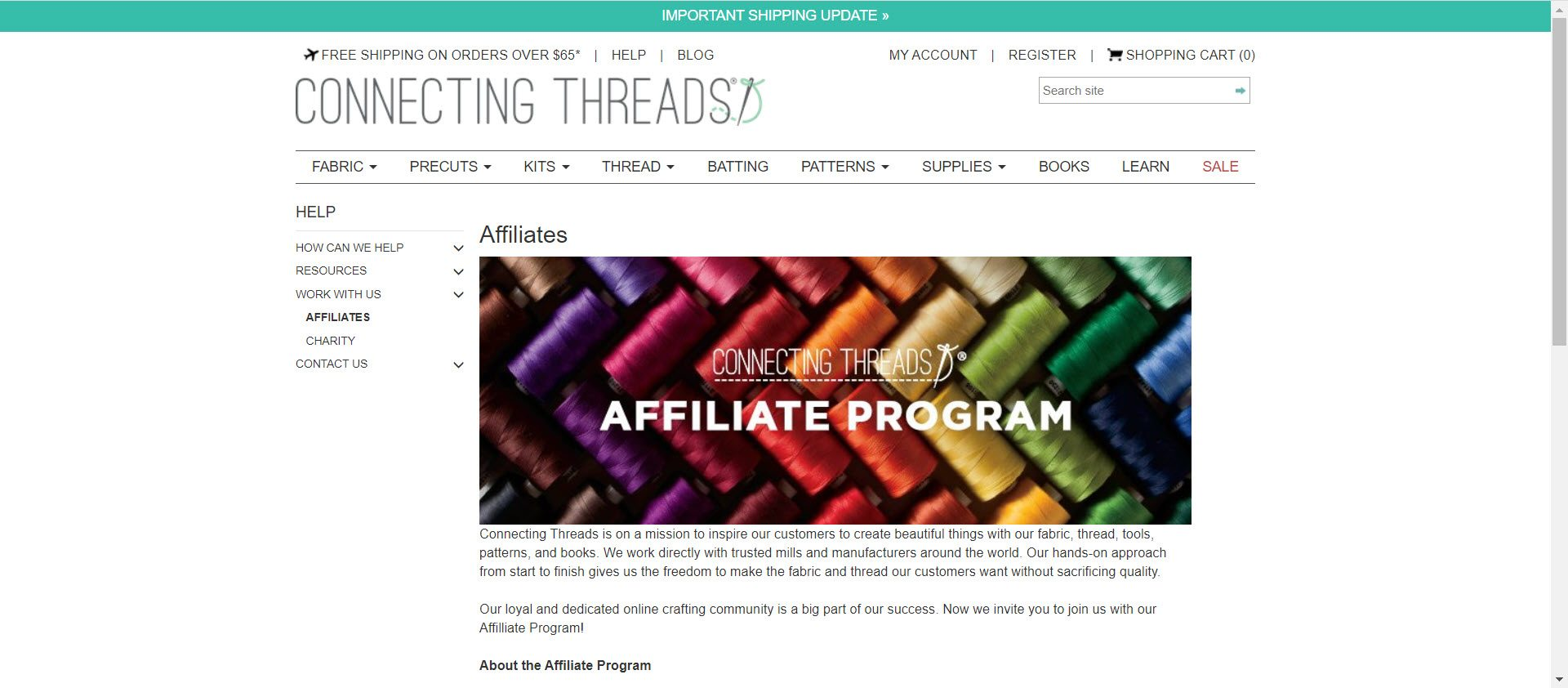 sewing affiliate programs - Connecting Threads affiliate