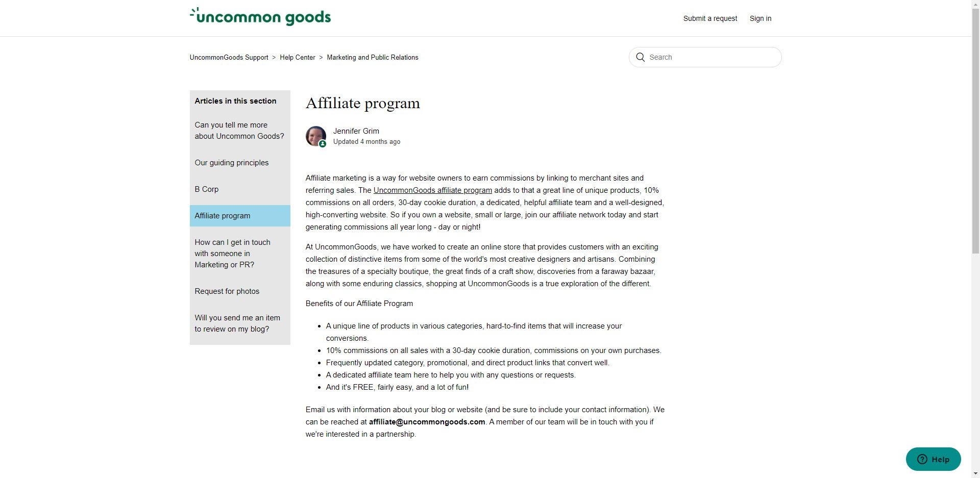 Christmas affiliate programs - Uncommon Goods affiliate