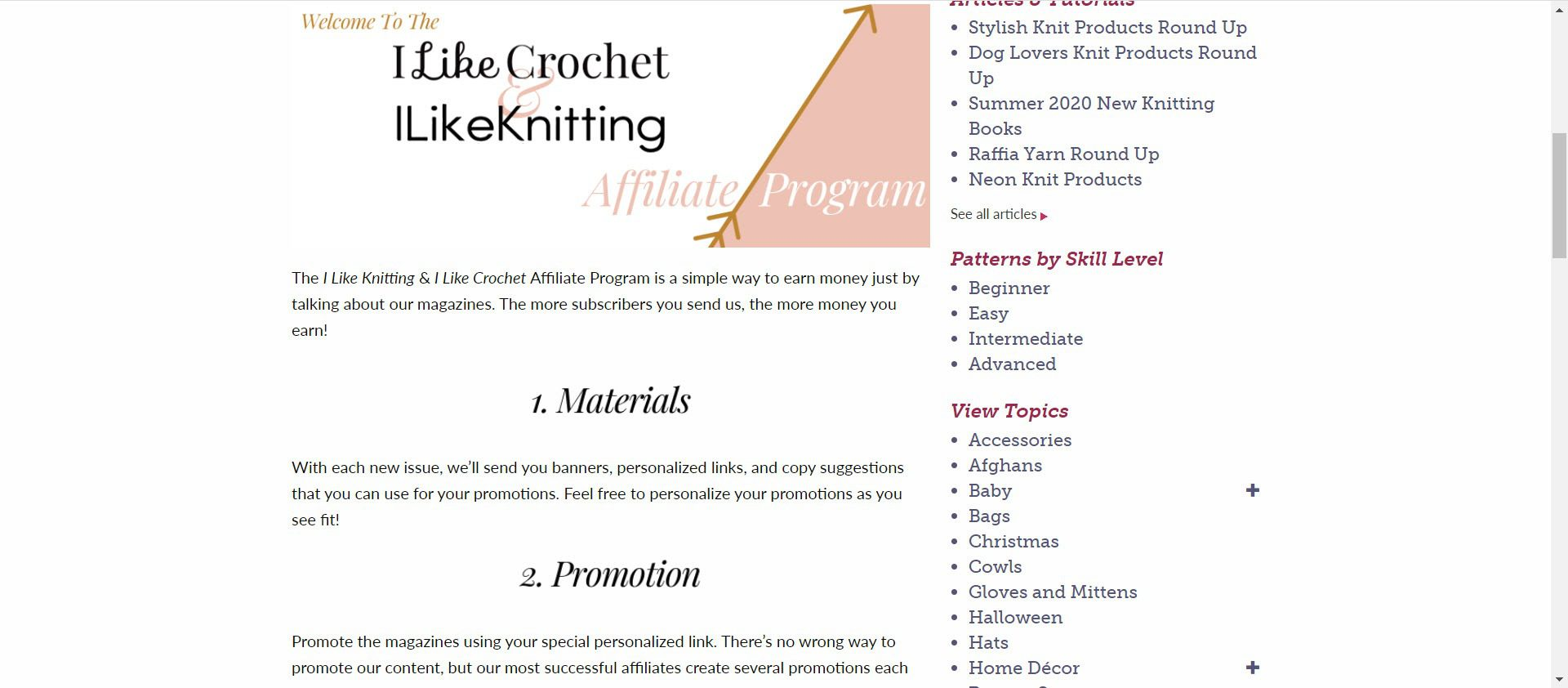 Knitting Affiliate Programs - I like knitting affiliate