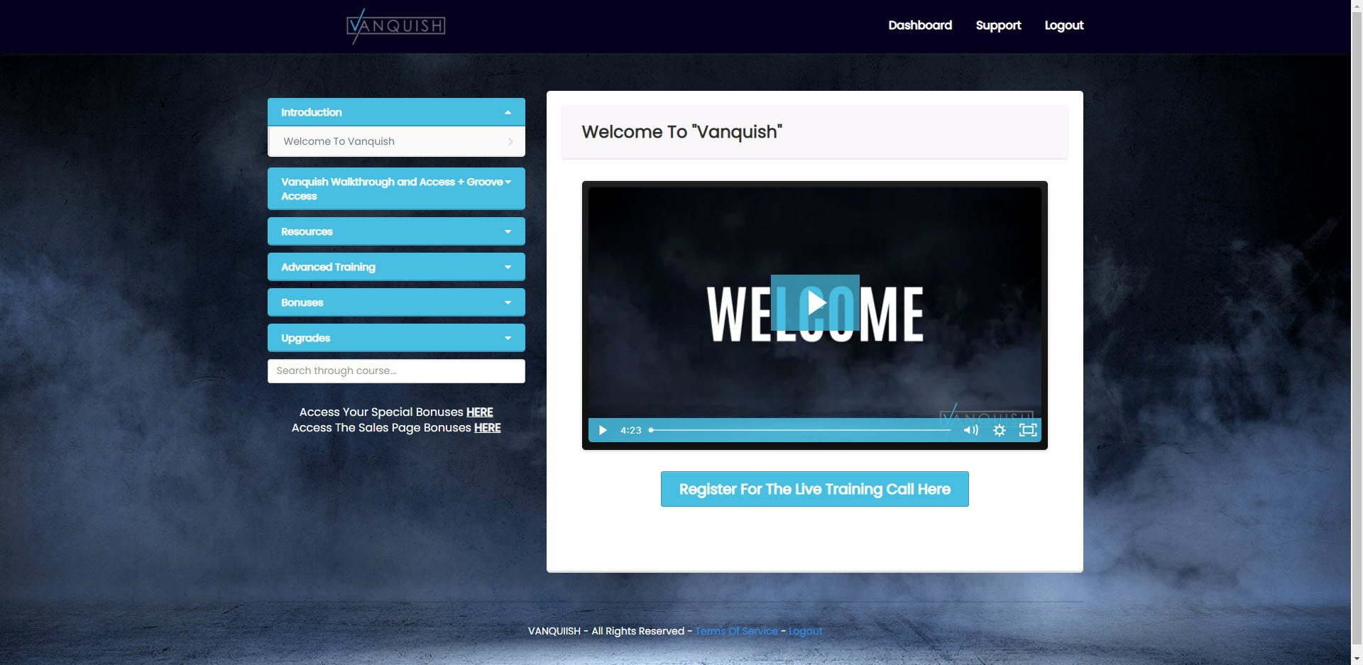 Vanquish Review - members page
