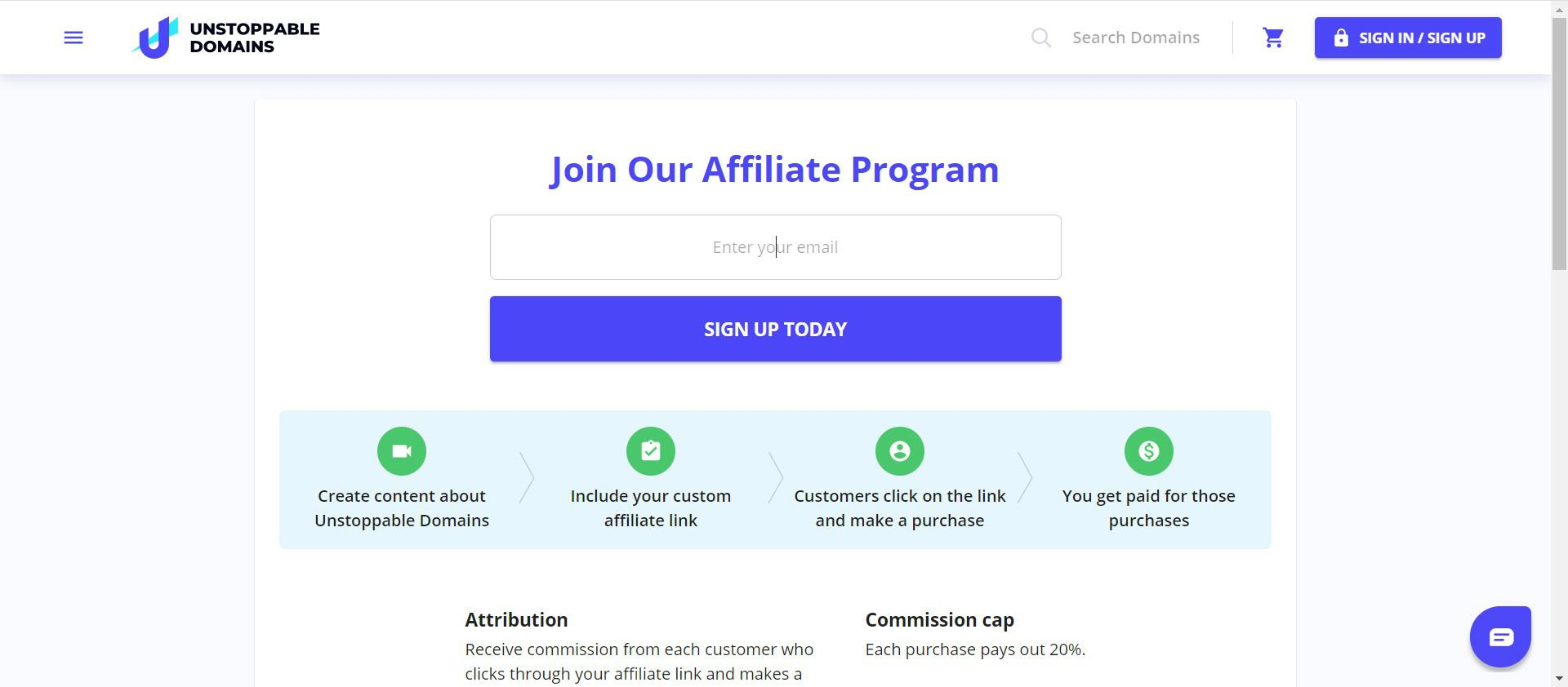 Crypto affiliate programs - Unstoppable Domains affiliate
