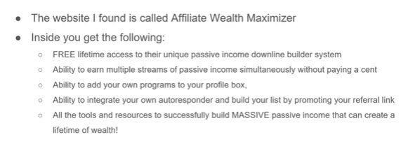 Simple income methods - Affilaite Wealth Maximiser