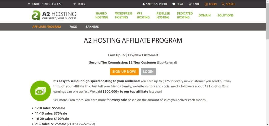web hosting affiliate programs - A2 Hosting affiliate