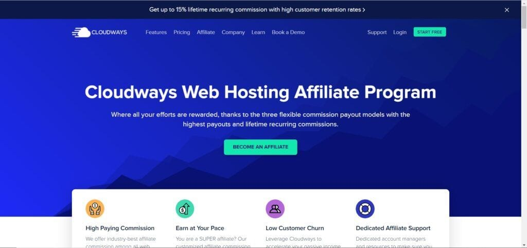 web hosting affiliate programs - Cloudways affiliate