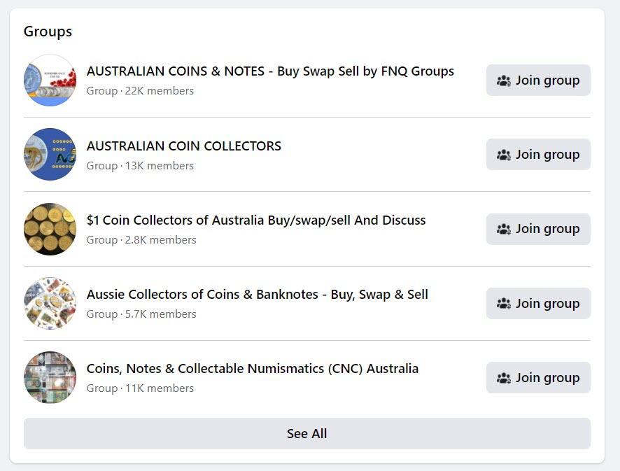 sell coins online - FB groups