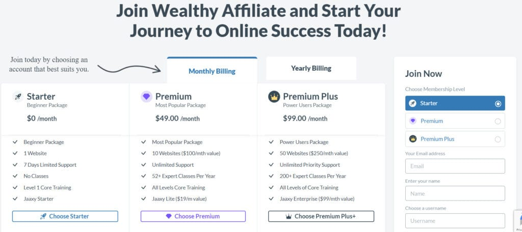 Top Website Hosting Services - Wealthy Affiliate costs