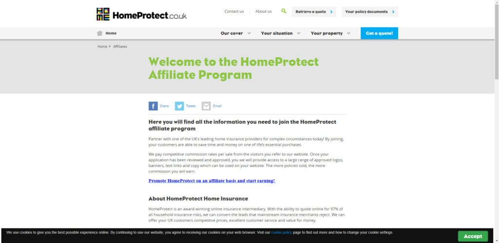 Home insurance affiliate - homeprotect affiliate