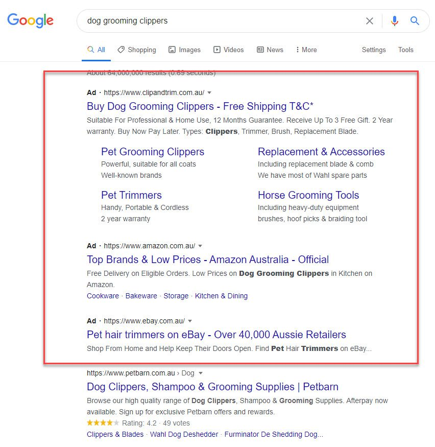 affiliate marketing without a website - dog grooming ads
