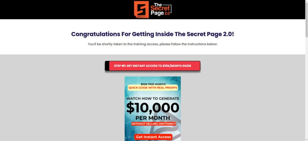 The Secret Page Review - start page