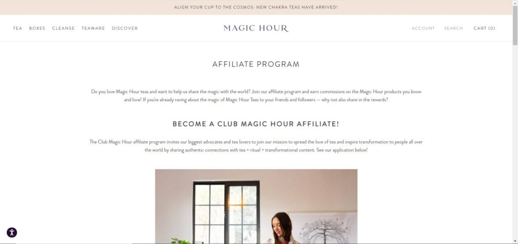 tea affiliate programs - Magic Hour affiliate